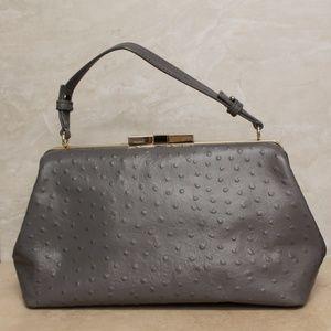Kate Spade Grey Ostrich Leather Satchel Bag  208